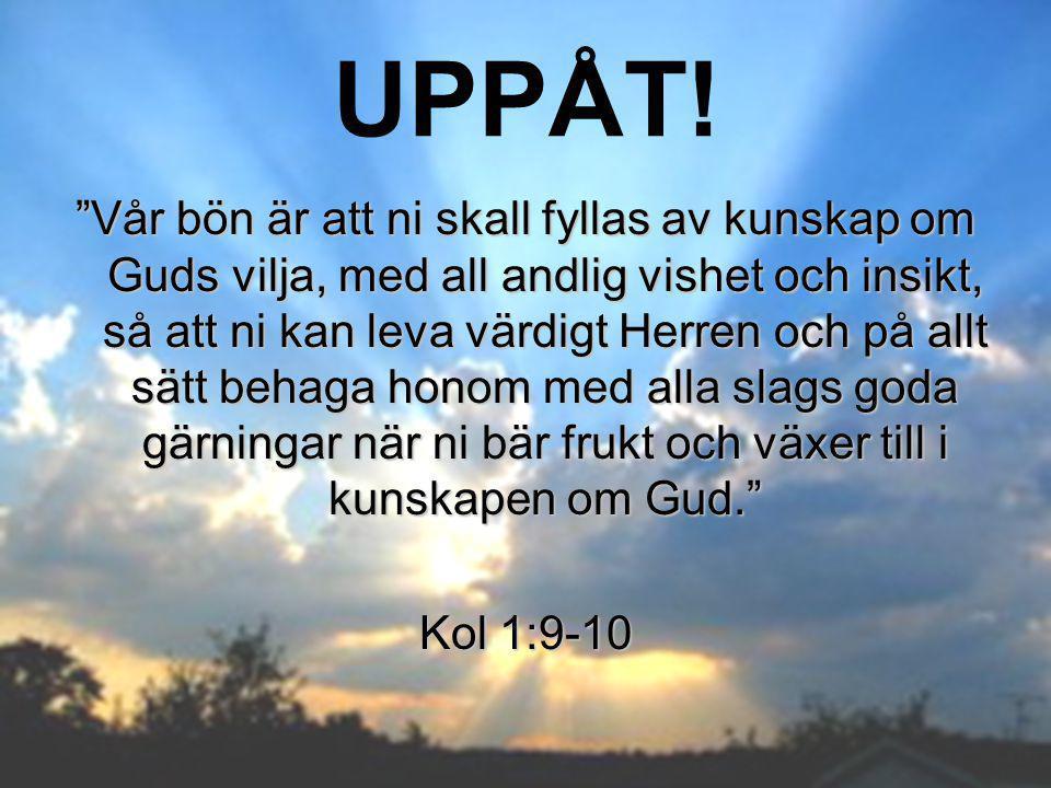 """UPPÅT! """"Vår bön är att ni skall fyllas av kunskap om Guds vilja, med all andlig vishet och insikt, så att ni kan leva värdigt Herren och på allt sätt"""