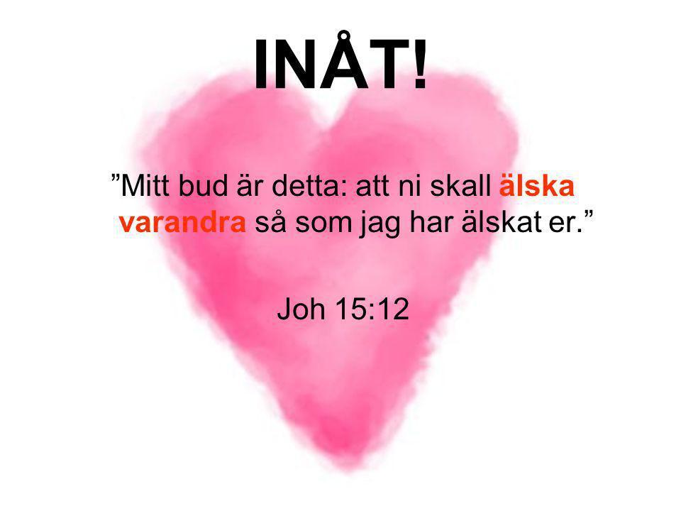 """INÅT! """"Mitt bud är detta: att ni skall älska varandra så som jag har älskat er."""" Joh 15:12"""