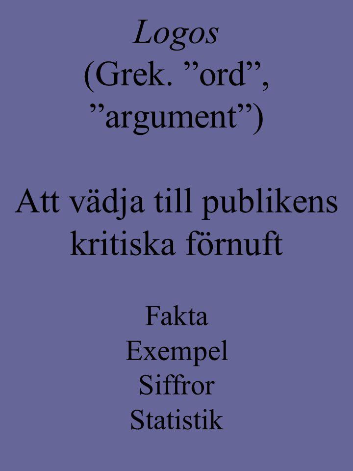 """Logos (Grek. """"ord"""", """"argument"""") Att vädja till publikens kritiska förnuft Fakta Exempel Siffror Statistik"""
