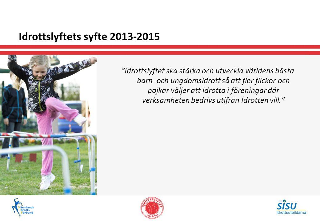 Idrottslyftets syfte 2013-2015 Idrottslyftet ska stärka och utveckla världens bästa barn- och ungdomsidrott så att fler flickor och pojkar väljer att idrotta i föreningar där verksamheten bedrivs utifrån Idrotten vill.