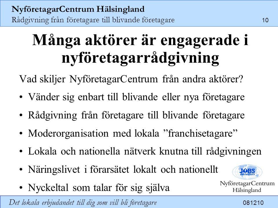 NyföretagarCentrum Hälsingland Rådgivning från företagare till blivande företagare 10 Det lokala erbjudandet till dig som vill bli företagare 081210 M