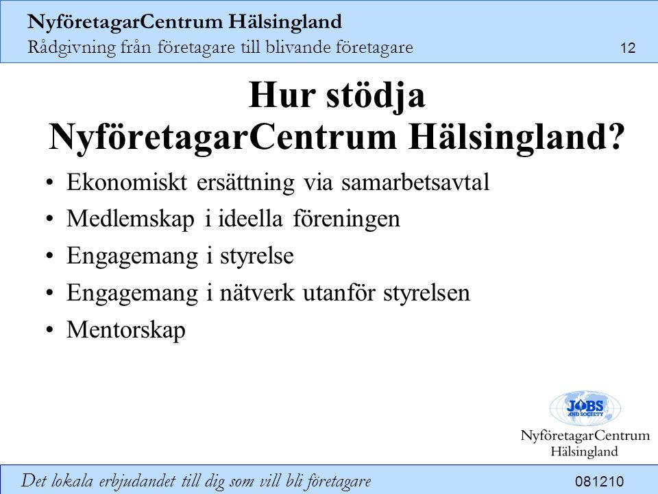 NyföretagarCentrum Hälsingland Rådgivning från företagare till blivande företagare 12 Det lokala erbjudandet till dig som vill bli företagare 081210 H