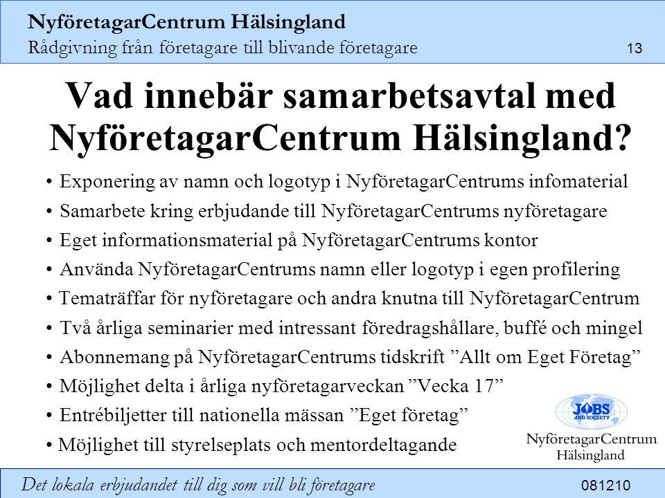 NyföretagarCentrum Hälsingland Rådgivning från företagare till blivande företagare 13 Det lokala erbjudandet till dig som vill bli företagare 081210 V