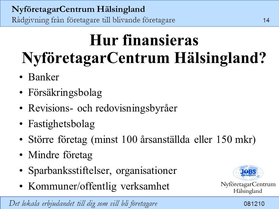 NyföretagarCentrum Hälsingland Rådgivning från företagare till blivande företagare 14 Det lokala erbjudandet till dig som vill bli företagare 081210 H