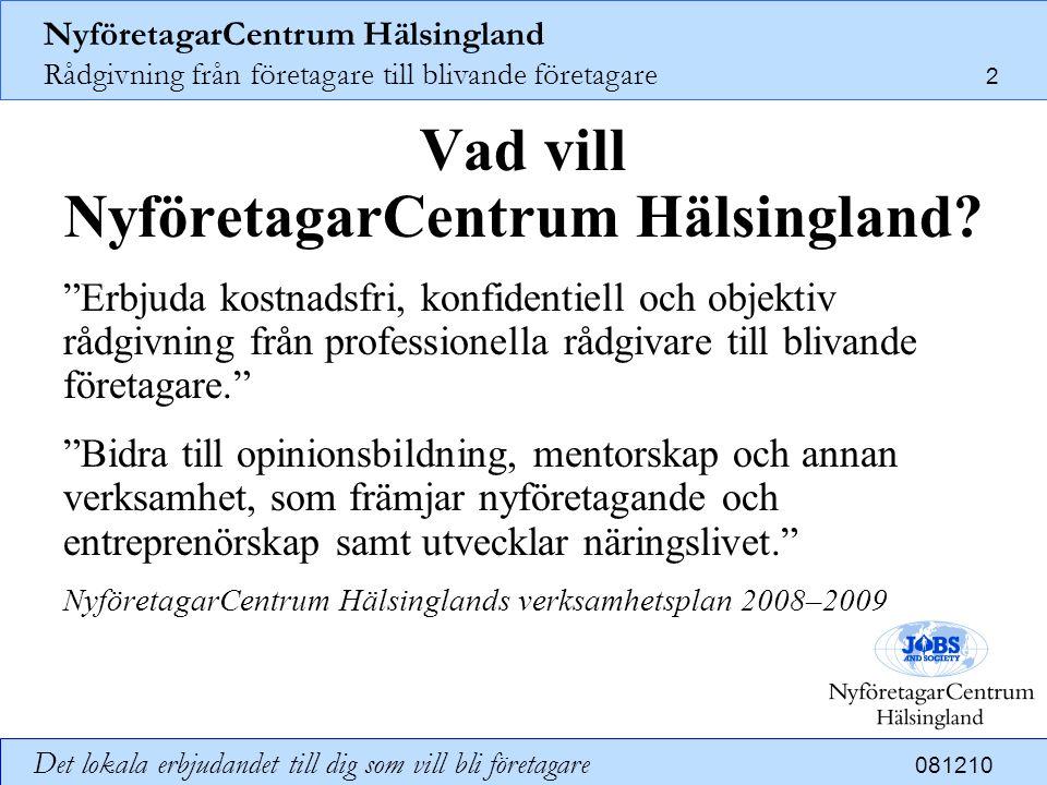 NyföretagarCentrum Hälsingland Rådgivning från företagare till blivande företagare 3 Det lokala erbjudandet till dig som vill bli företagare 081210 Varför behövs NyföretagarCentrum Hälsingland.