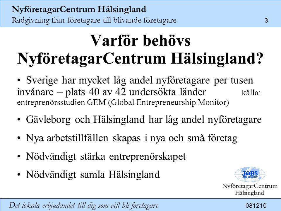 NyföretagarCentrum Hälsingland Rådgivning från företagare till blivande företagare 14 Det lokala erbjudandet till dig som vill bli företagare 081210 Hur finansieras NyföretagarCentrum Hälsingland.