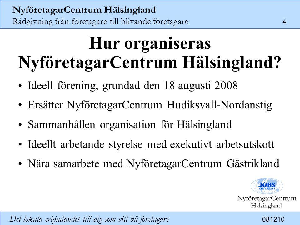 NyföretagarCentrum Hälsingland Rådgivning från företagare till blivande företagare 5 Det lokala erbjudandet till dig som vill bli företagare 081210 Vad omfattar NyföretagarCentrum Hälsingland.