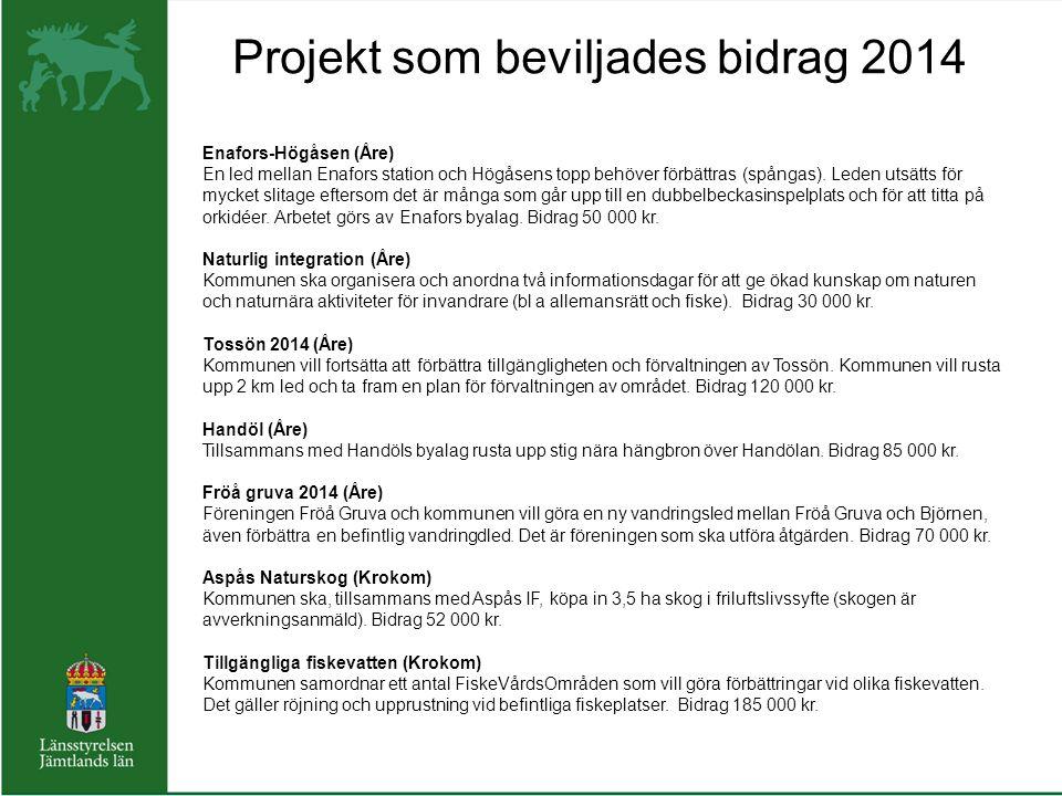 Projekt som beviljades bidrag 2014 Enafors-Högåsen (Åre) En led mellan Enafors station och Högåsens topp behöver förbättras (spångas).