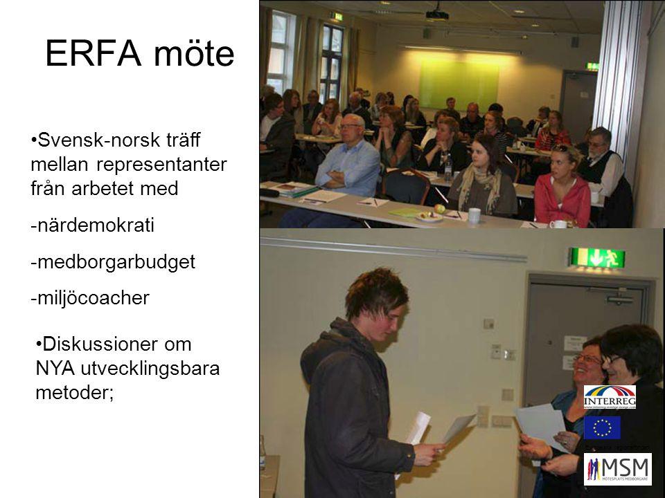 ERFA möte Svensk-norsk träff mellan representanter från arbetet med -närdemokrati -medborgarbudget -miljöcoacher Diskussioner om NYA utvecklingsbara metoder; Europeiska regionalfonden