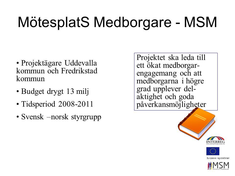 MötesplatS Medborgare - MSM Projektet ska leda till ett ökat medborgar- engagemang och att medborgarna i högre grad upplever del- aktighet och goda påverkansmöjligheter Projektägare Uddevalla kommun och Fredrikstad kommun Budget drygt 13 milj Tidsperiod 2008-2011 Svensk –norsk styrgrupp Europeiska regionalfonden