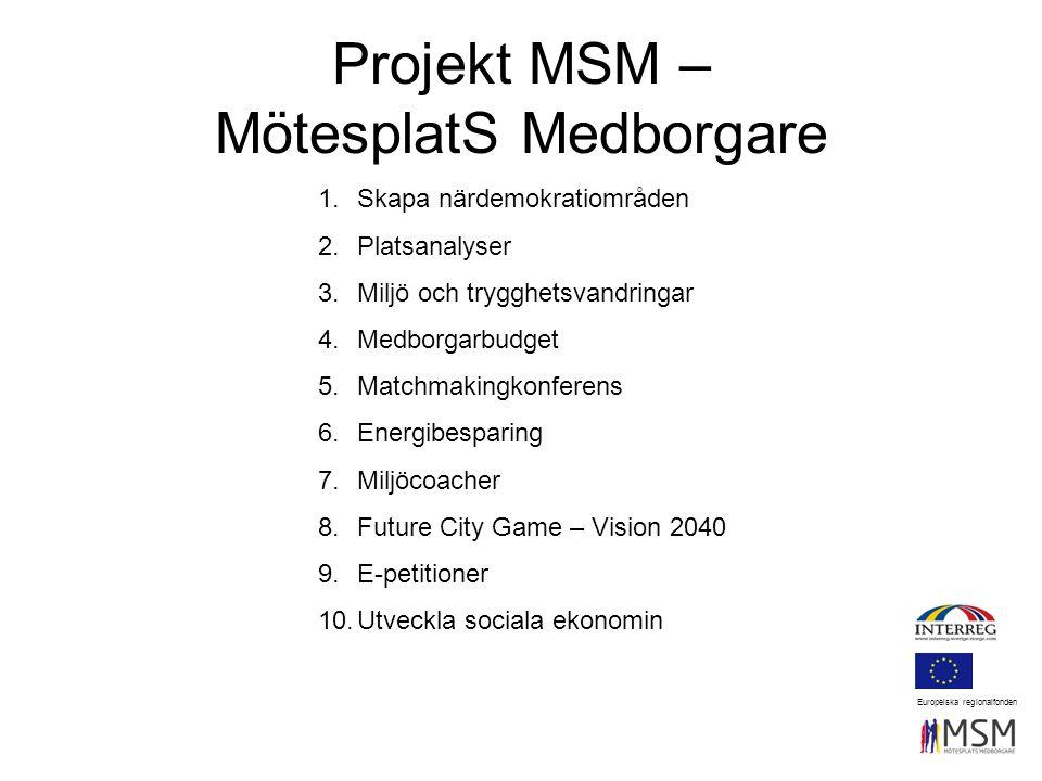 Projekt MSM – MötesplatS Medborgare Europeiska regionalfonden 1.Skapa närdemokratiområden 2.Platsanalyser 3.Miljö och trygghetsvandringar 4.Medborgarb