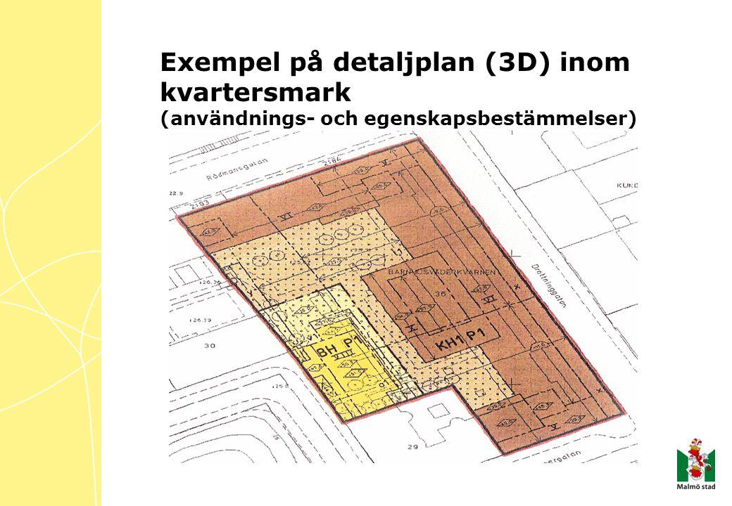 Exempel på detaljplan (3D) inom kvartersmark (användnings- och egenskapsbestämmelser)