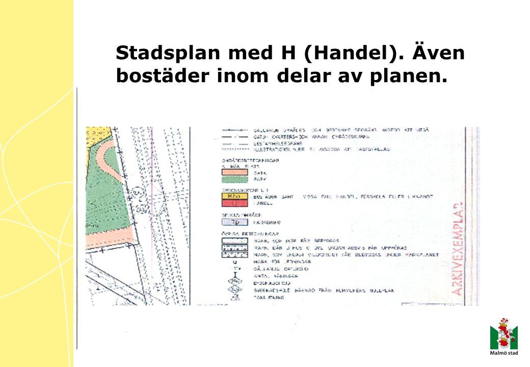 Stadsplan med H (Handel). Även bostäder inom delar av planen.