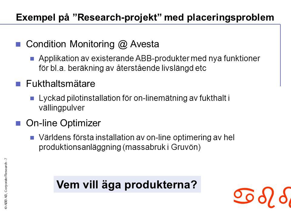 © ABB AB, Corporate Research - 7 abb Exempel på Research-projekt med placeringsproblem Condition Monitoring @ Avesta Applikation av existerande ABB-produkter med nya funktioner för bl.a.