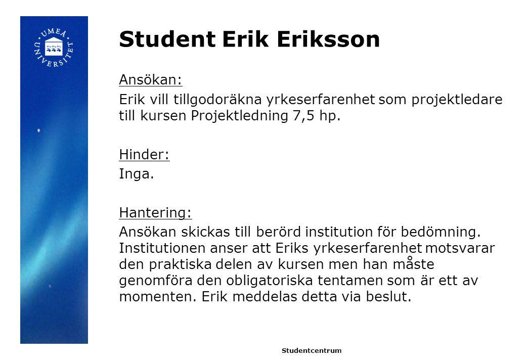 Student Erik Eriksson Ansökan: Erik vill tillgodoräkna yrkeserfarenhet som projektledare till kursen Projektledning 7,5 hp. Hinder: Inga. Hantering: A