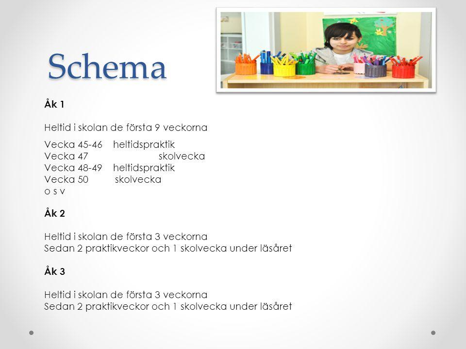 Schema Åk 1 Heltid i skolan de första 9 veckorna Vecka 45-46 heltidspraktik Vecka 47 skolvecka Vecka 48-49 heltidspraktik Vecka 50 skolvecka o s v Åk