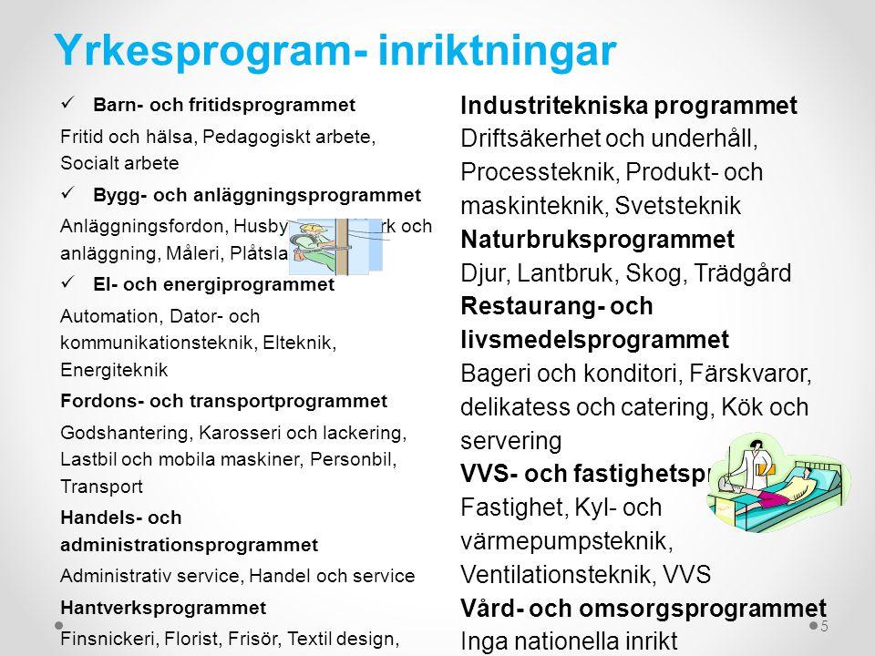 Yrkesprogram- inriktningar Barn- och fritidsprogrammet Fritid och hälsa, Pedagogiskt arbete, Socialt arbete Bygg- och anläggningsprogrammet Anläggning