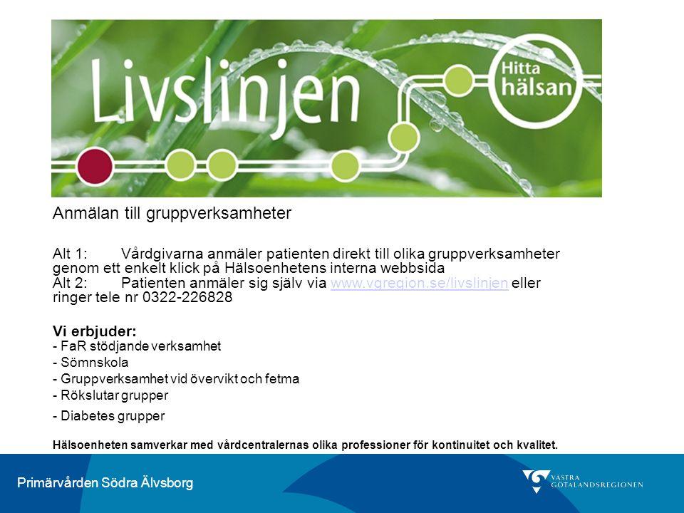 Primärvården Södra Älvsborg Anmälan till gruppverksamheter Alt 1: Vårdgivarna anmäler patienten direkt till olika gruppverksamheter genom ett enkelt k