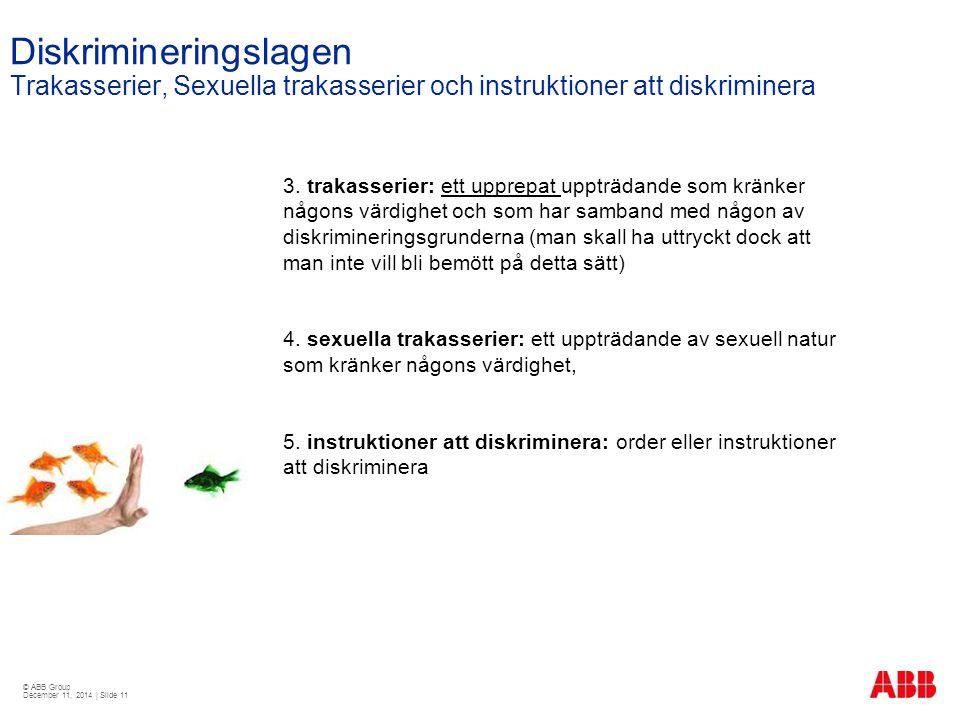 © ABB Group December 11, 2014 | Slide 11 Diskrimineringslagen Trakasserier, Sexuella trakasserier och instruktioner att diskriminera 3. trakasserier: