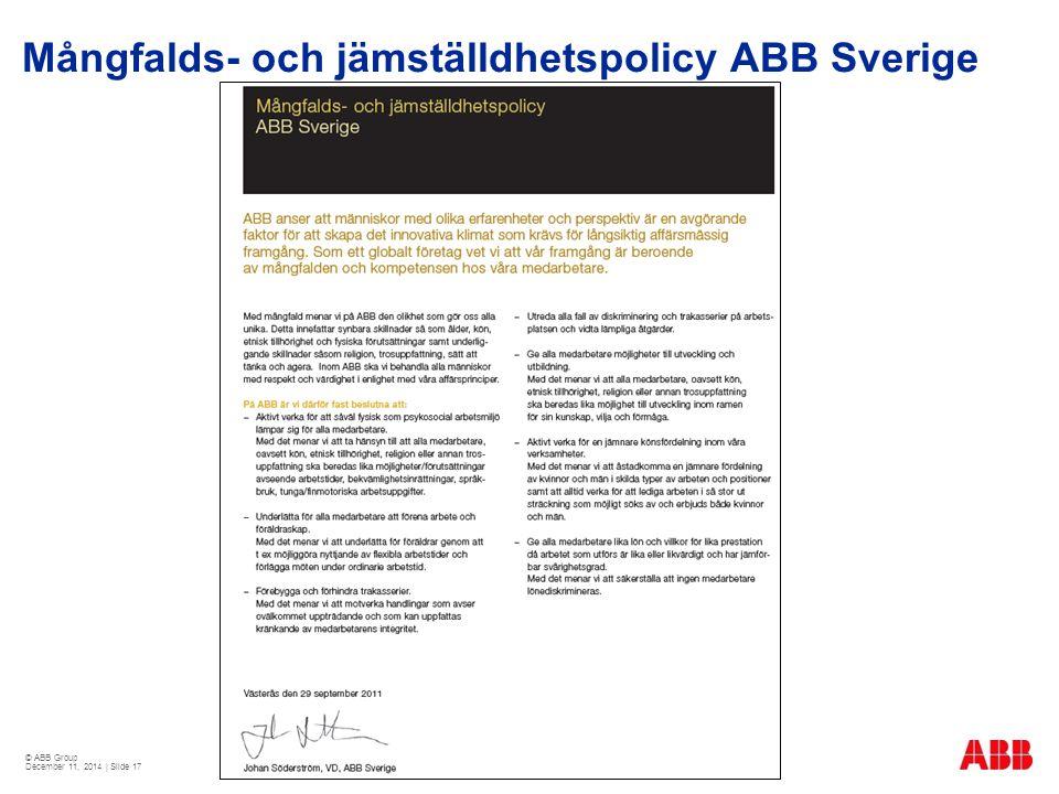 © ABB Group December 11, 2014 | Slide 17 Mångfalds- och jämställdhetspolicy ABB Sverige