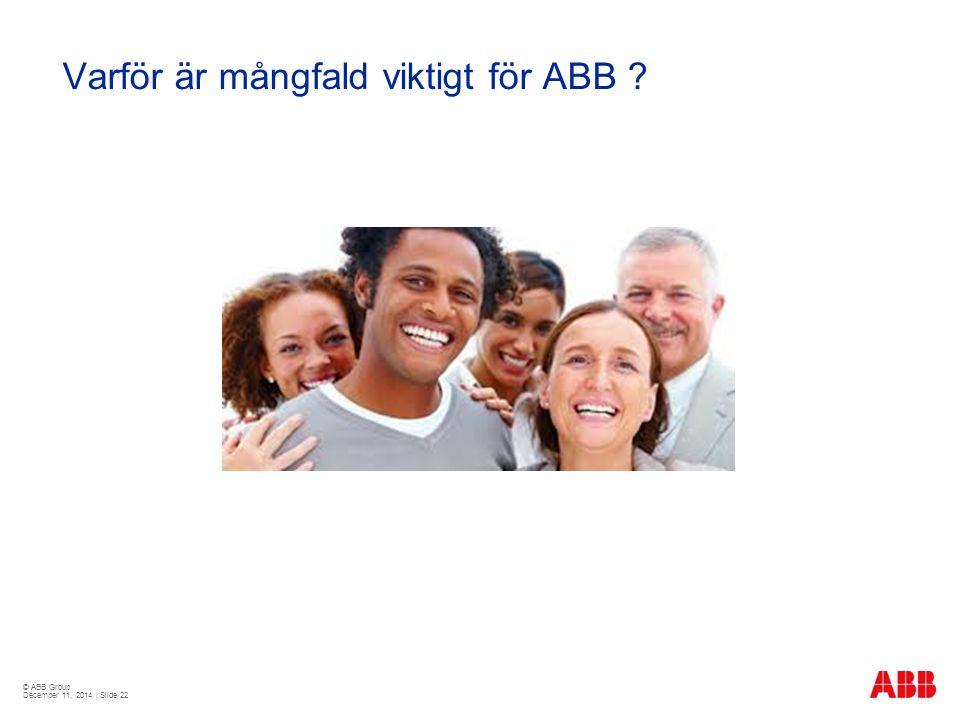 © ABB Group December 11, 2014 | Slide 22 Varför är mångfald viktigt för ABB ?