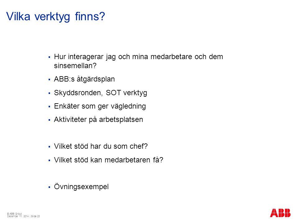 © ABB Group December 11, 2014 | Slide 23 Vilka verktyg finns?  Hur interagerar jag och mina medarbetare och dem sinsemellan?  ABB:s åtgärdsplan  Sk