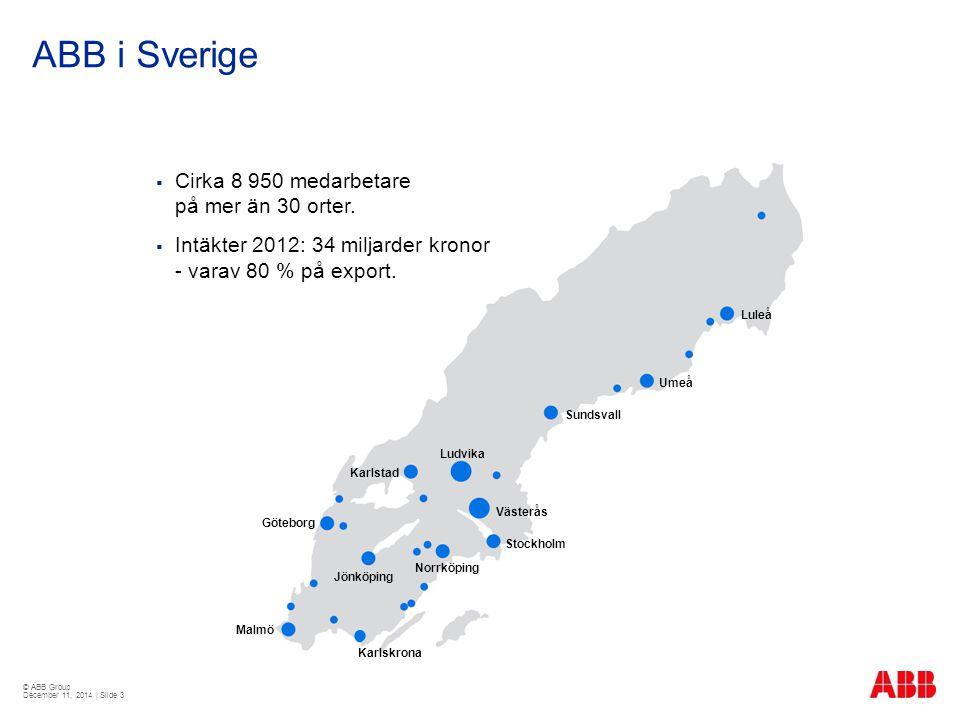 © ABB Group December 11, 2014 | Slide 3 ABB i Sverige  Cirka 8 950 medarbetare på mer än 30 orter.  Intäkter 2012: 34 miljarder kronor - varav 80 %