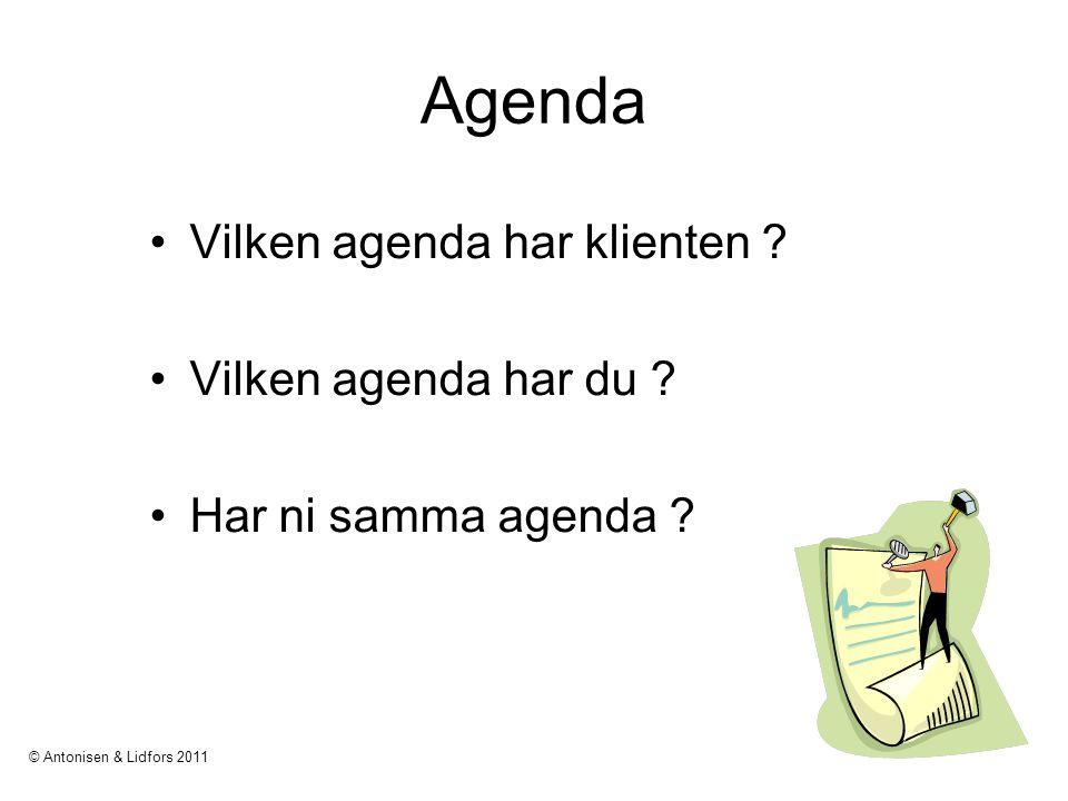 Agenda Vilken agenda har klienten ? Vilken agenda har du ? Har ni samma agenda ? © Antonisen & Lidfors 2011