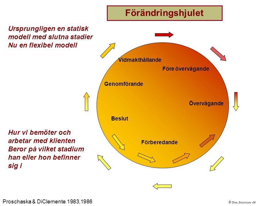 Ursprungligen en statisk modell med slutna stadier Nu en flexibel modell Förändringshjulet Hur vi bemöter och arbetar med klienten Beror på vilket sta