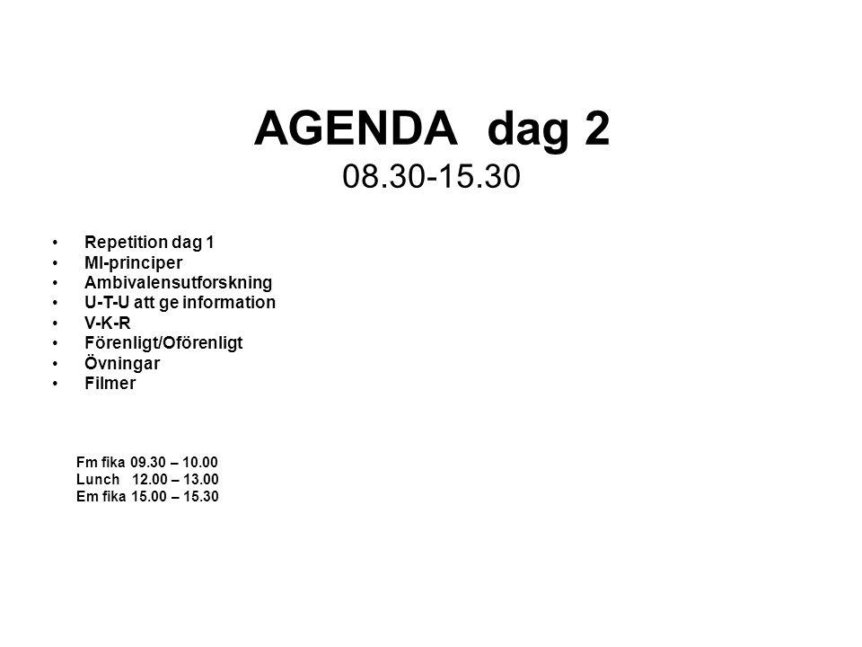 AGENDA dag 2 08.30-15.30 Repetition dag 1 MI-principer Ambivalensutforskning U-T-U att ge information V-K-R Förenligt/Oförenligt Övningar Filmer Fm fi
