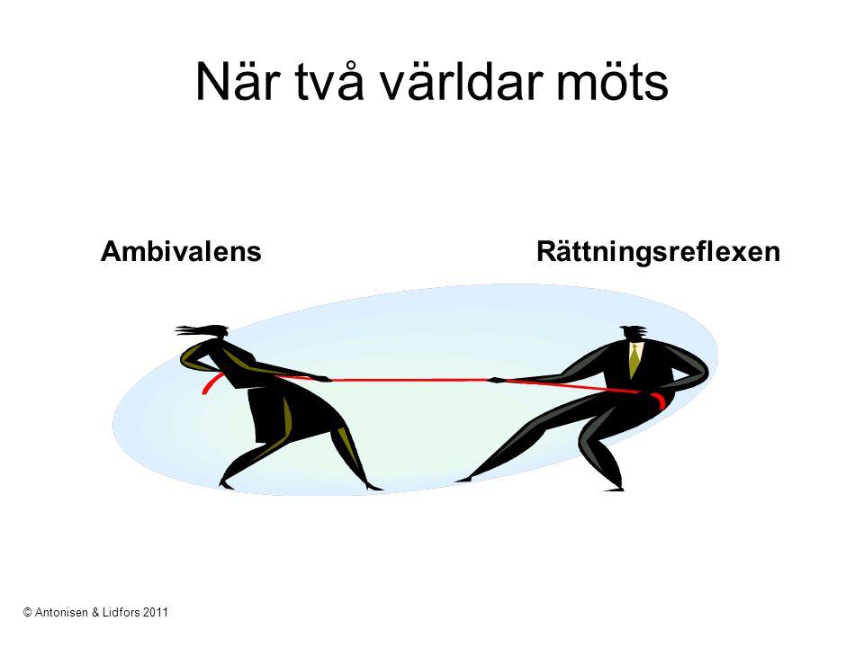 När två världar möts AmbivalensRättningsreflexen © Antonisen & Lidfors 2011