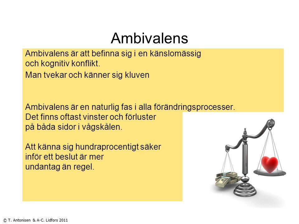 Ambivalens Ambivalens är att befinna sig i en känslomässig och kognitiv konflikt. Man tvekar och känner sig kluven Ambivalens är en naturlig fas i all