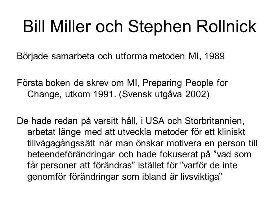 Bill Miller och Stephen Rollnick Började samarbeta och utforma metoden MI, 1989 Första boken de skrev om MI, Preparing People for Change, utkom 1991.
