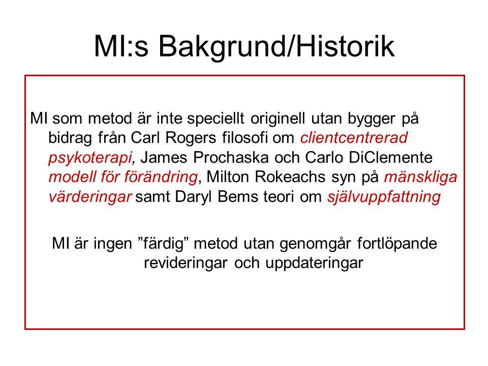 MI:s Bakgrund/Historik MI som metod är inte speciellt originell utan bygger på bidrag från Carl Rogers filosofi om clientcentrerad psykoterapi, James