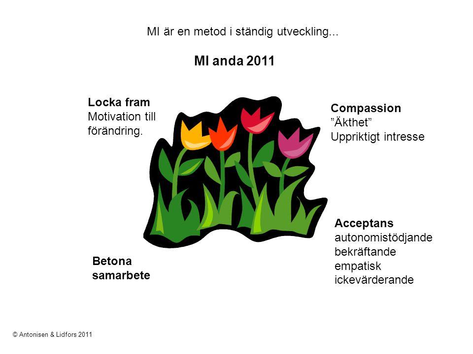 MI är en metod i ständig utveckling... MI anda 2011 Locka fram Motivation till förändring. Betona samarbete Acceptans autonomistödjande bekräftande em
