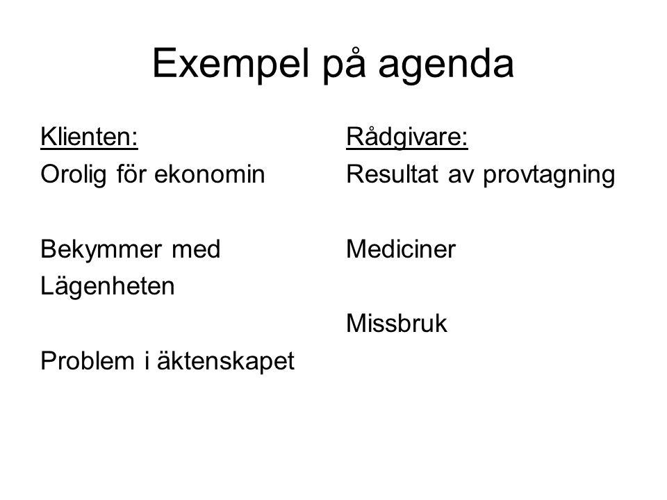 Exempel på agenda Klienten: Orolig för ekonomin Bekymmer med Lägenheten Problem i äktenskapet Rådgivare: Resultat av provtagning Mediciner Missbruk