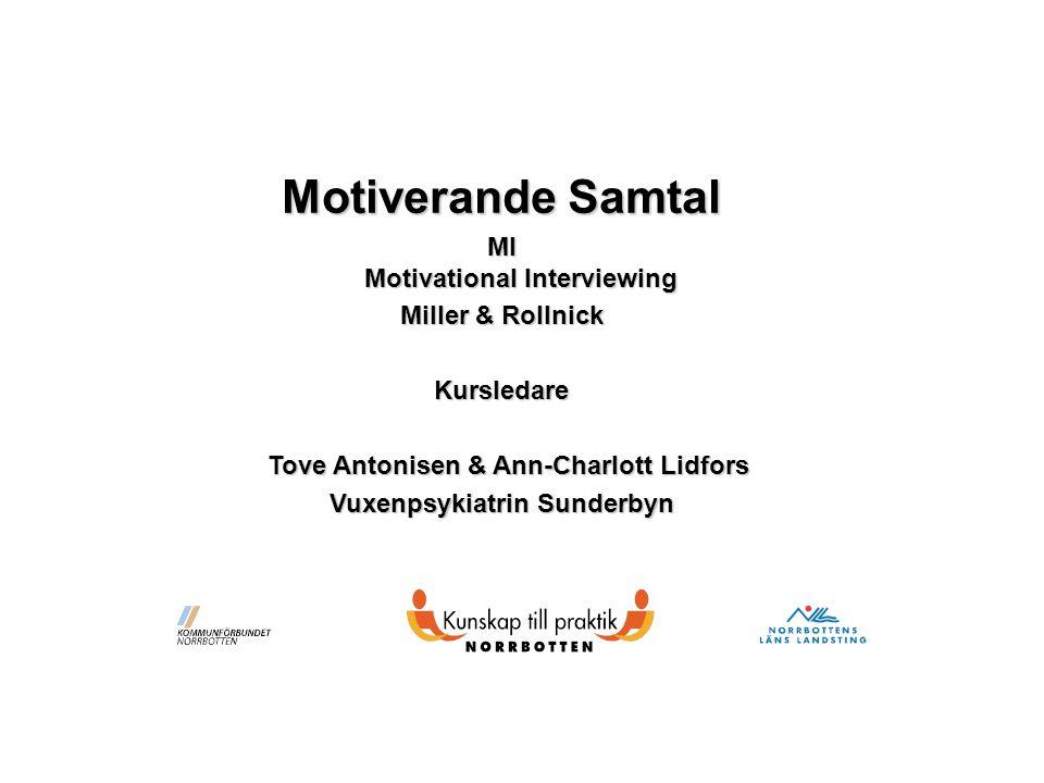 Motiverande Samtal MI Motivational Interviewing Miller & Rollnick Kursledare Tove Antonisen & Ann-Charlott Lidfors Tove Antonisen & Ann-Charlott Lidfors Vuxenpsykiatrin Sunderbyn