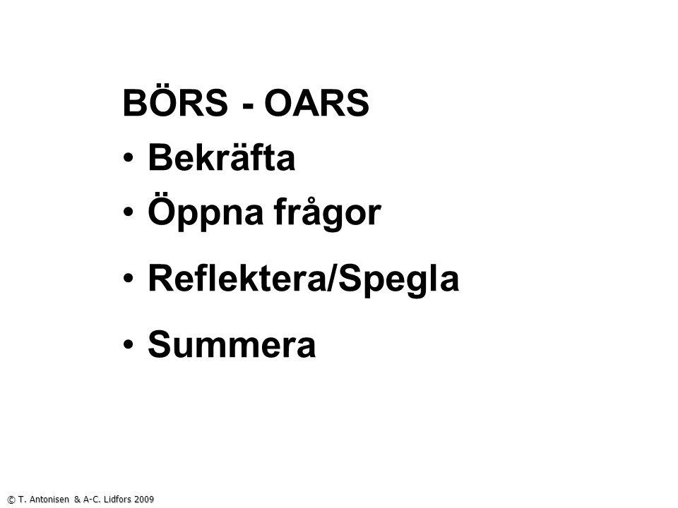 BÖRS - OARS Bekräfta Öppna frågor Reflektera/Spegla Summera © T. Antonisen & A-C. Lidfors 2009