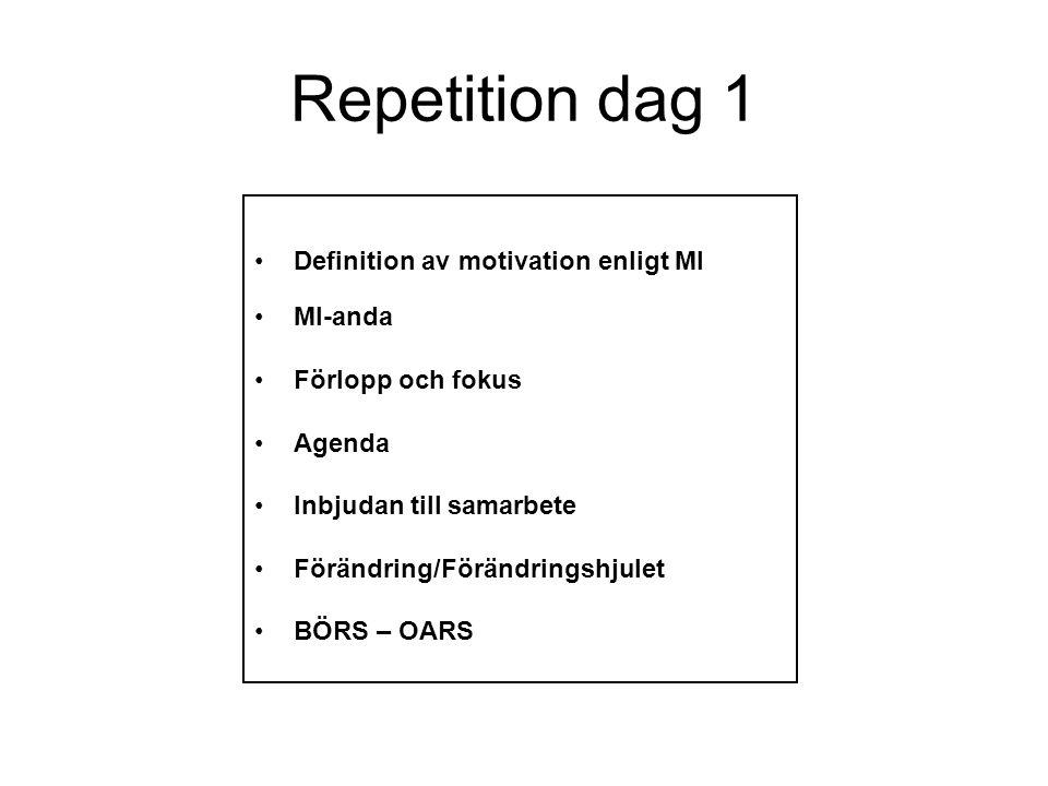 Repetition dag 1 Definition av motivation enligt MI MI-anda Förlopp och fokus Agenda Inbjudan till samarbete Förändring/Förändringshjulet BÖRS – OARS