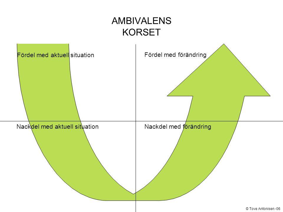 AMBIVALENS KORSET Fördel med aktuell situation Fördel med förändring Nackdel med aktuell situationNackdel med förändring © Tove Antonisen -06