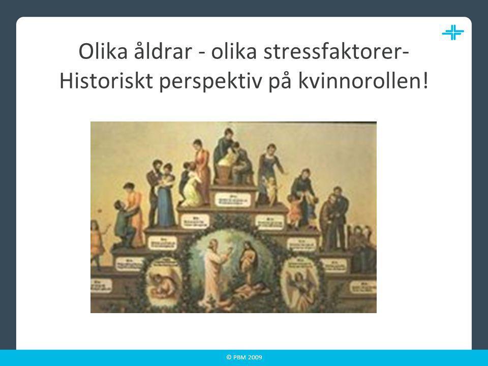 © PBM 2009 Kvinnors stressfällor (Renstig & Sandmark 2005) Jobba mycket Duktig flicka Bristande jämställdhet i hemmet Stanna på jobb där man inte trivs