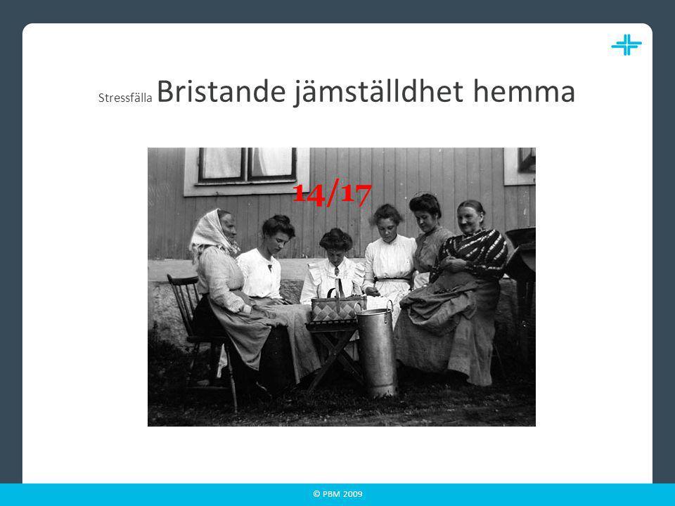 © PBM 2009 Stressfälla Bristande jämställdhet hemma 14/17