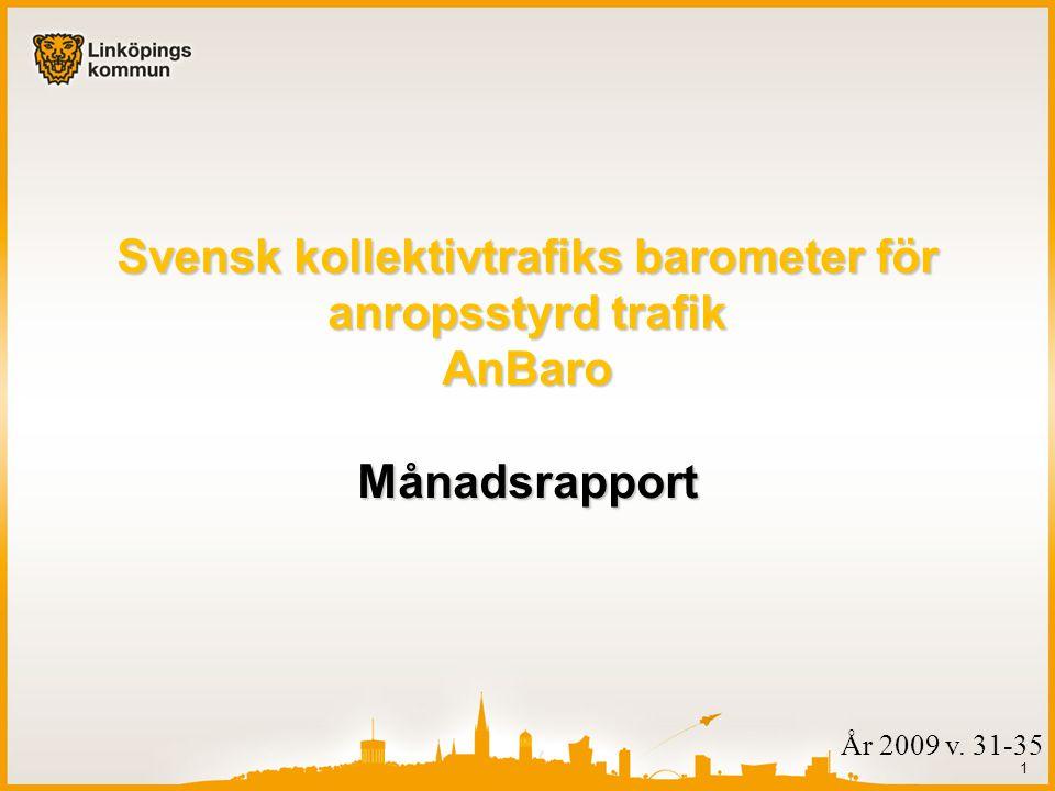 1 År 2009 v. 31-35 Svensk kollektivtrafiks barometer för anropsstyrd trafik AnBaro Månadsrapport