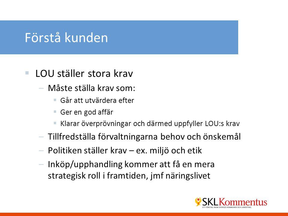 Förstå kunden  LOU ställer stora krav –Måste ställa krav som:  Går att utvärdera efter  Ger en god affär  Klarar överprövningar och därmed uppfyller LOU:s krav –Tillfredställa förvaltningarna behov och önskemål –Politiken ställer krav – ex.