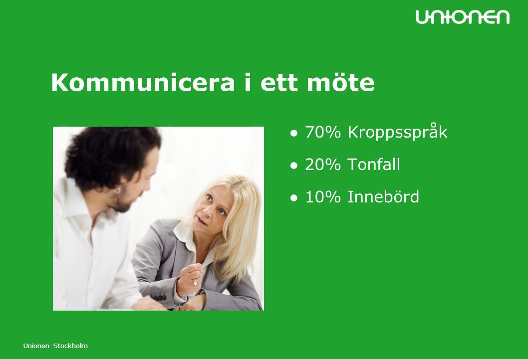 Unionen Stockholm ● 70% Kroppsspråk ● 20% Tonfall ● 10% Innebörd Kommunicera i ett möte
