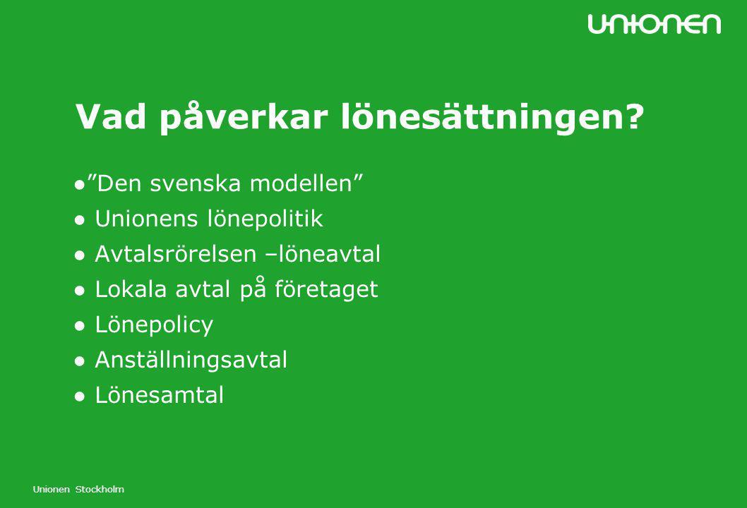 """Unionen Stockholm Vad påverkar lönesättningen? ●""""Den svenska modellen"""" ● Unionens lönepolitik ● Avtalsrörelsen –löneavtal ● Lokala avtal på företaget"""