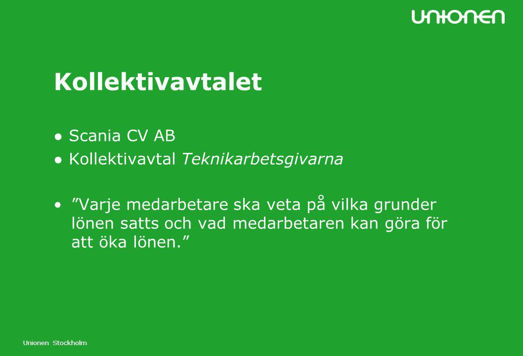 """Unionen Stockholm Kollektivavtalet ● Scania CV AB ● Kollektivavtal Teknikarbetsgivarna """"Varje medarbetare ska veta på vilka grunder lönen satts och va"""