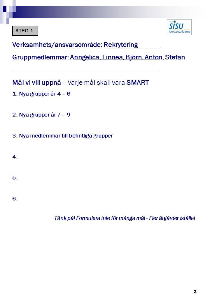 2 Verksamhets/ansvarsområde: Rekrytering Gruppmedlemmar: Anngelica, Linnea, Björn, Anton, Stefan Mål vi vill uppnå – Varje mål skall vara SMART 1. Nya