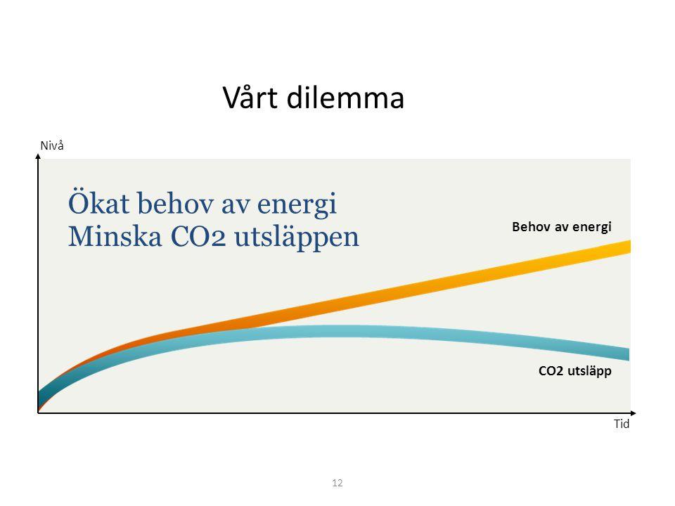 Behov av energi Nivå Tid Ökat behov av energi Minska CO2 utsläppen CO2 utsläpp 12 Vårt dilemma