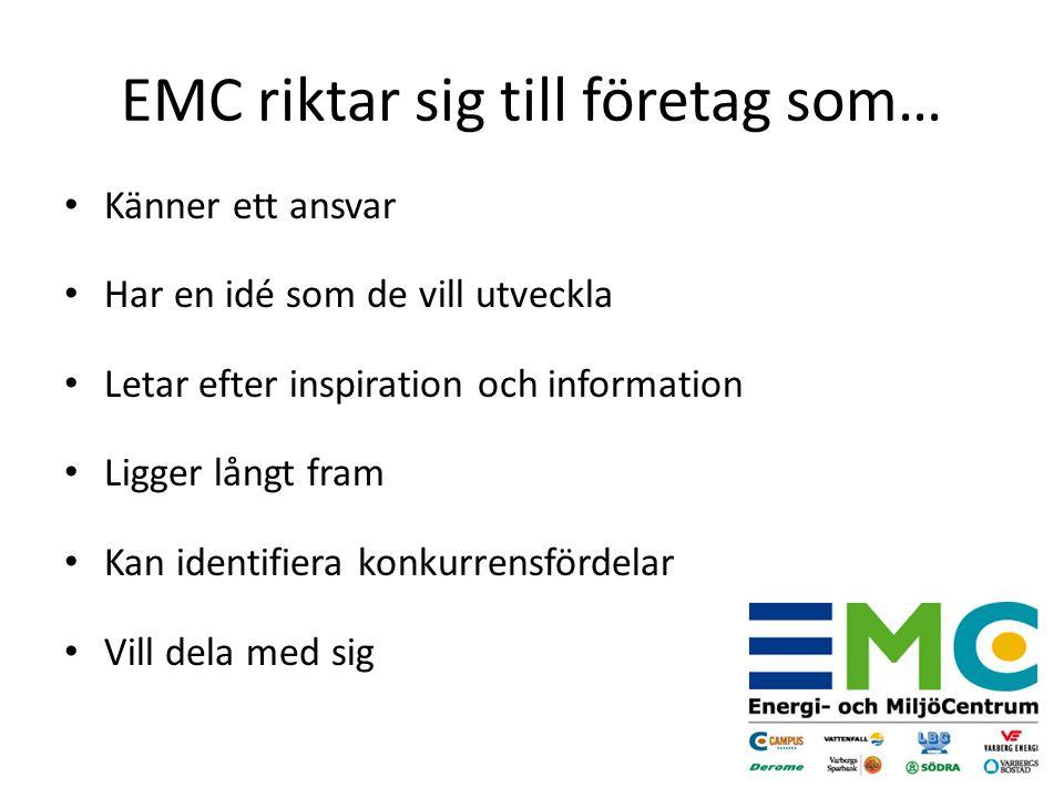 Känner ett ansvar Har en idé som de vill utveckla Letar efter inspiration och information Ligger långt fram Kan identifiera konkurrensfördelar Vill dela med sig EMC riktar sig till företag som…